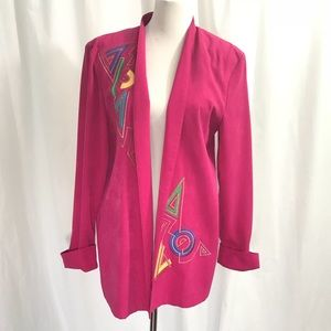 Vintage 80s Bright Abstract Open Front Jacket M